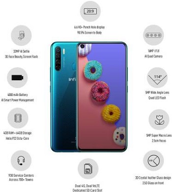 Infinix S5 with 6.6 Punch Hole Display, and Quad Camera Setup